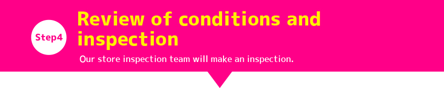 Step4:Review of conditions and inspection Our store inspection team will make an inspection.