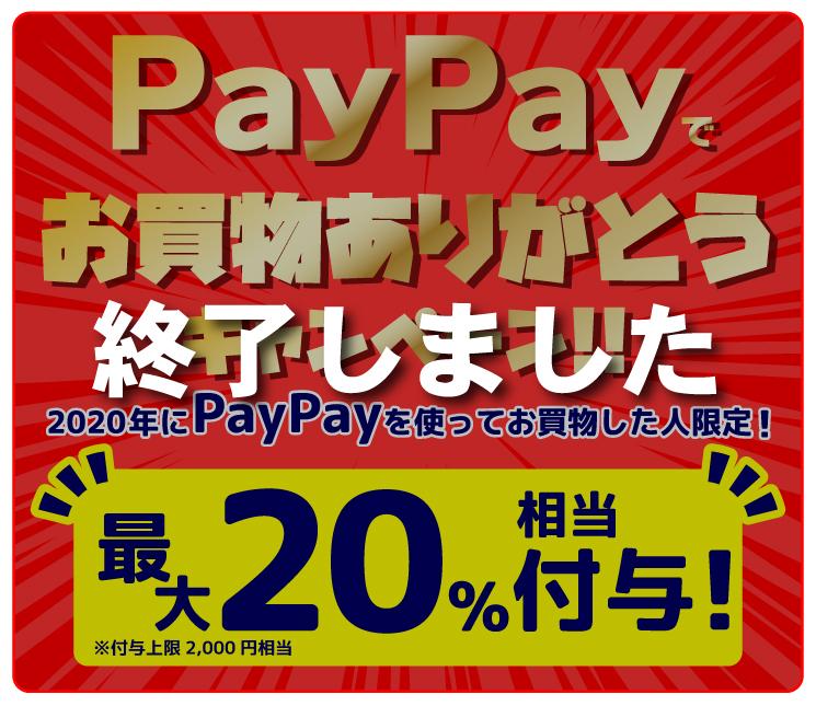 PayPayでお買物ありがとうキャンペーン!!最大20%相当付与!※付与上限2,000円相当
