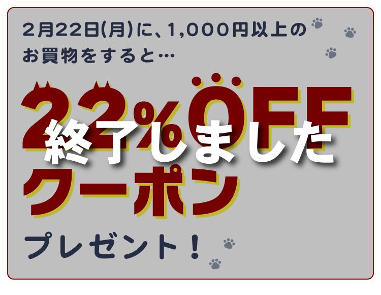 22日(月)限定!1,000円以上のお買物をすると、22%OFFクーポンプレゼント!