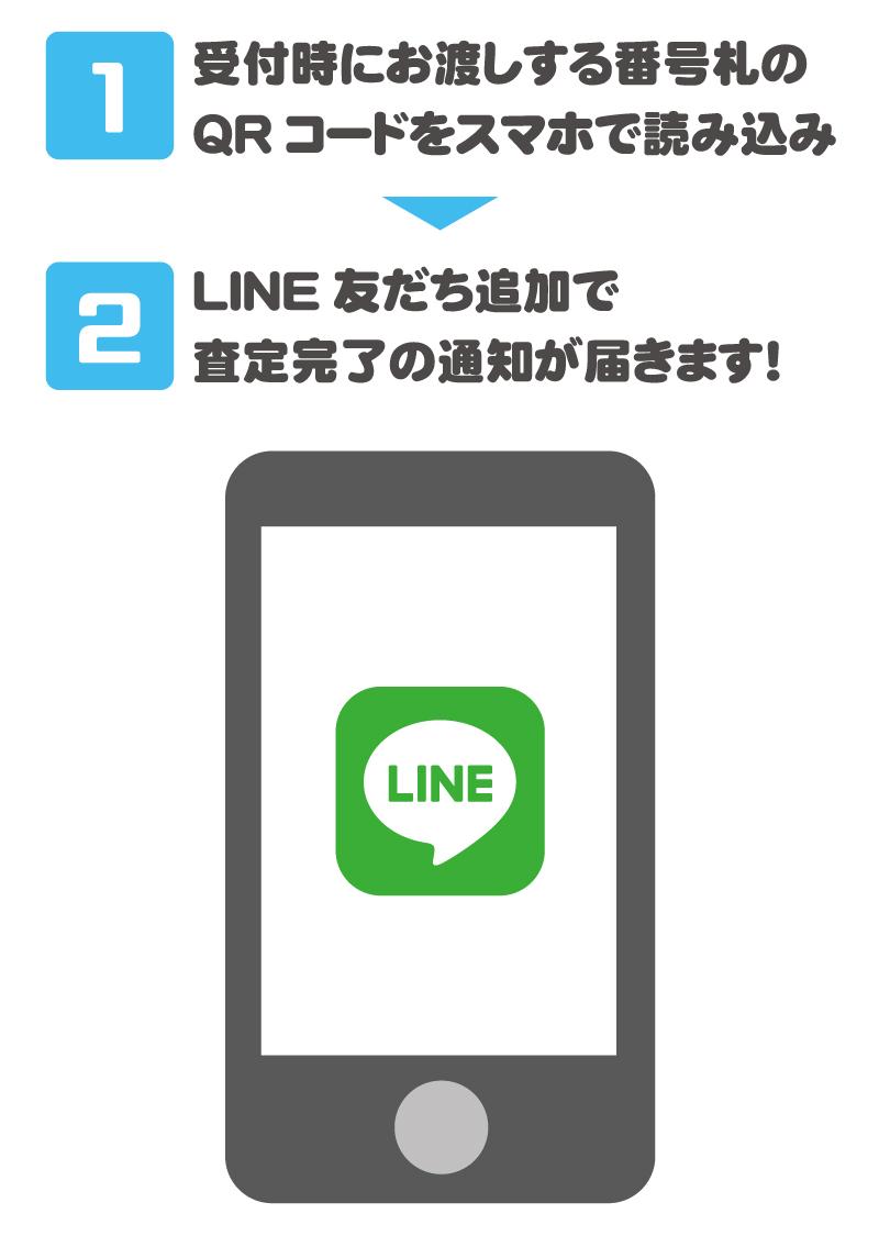 【1】受付時にお渡しする番号札のQRコードをスマホで読み込み【2】LINE友だち追加で査定完了の通知が届きます!