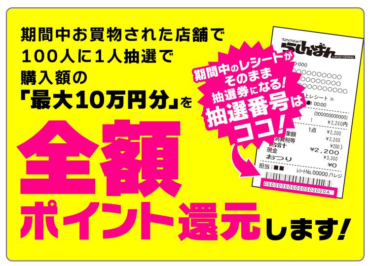 期間中お買物された店舗で100人に1人抽選で購入額の「最大10万円分」を全額ポイント還元します!